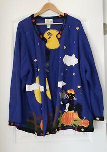 Quacker Factory Halloween Cardigan Sweater 3X Womens Cat Bats Pumpkins Stars