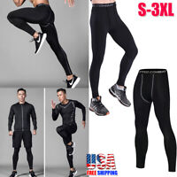 Men's Compression Base Layer Skin Tight Long Pants Running Thermal Leggings USA