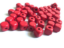 200 pcs Red Wood Beads 10mm Bead Jewelry Making Wooden Tool square Craft