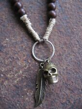 Men's Necklace Skull Necklace Chain Brown Surfer Wood Men Necklace Hemp Skull