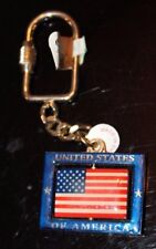 New listing United States of America American Usa Flag Dangling KeyChain Key Ring Fob Chain