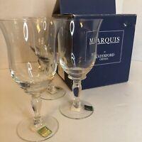 Vtg Set 4 Wine Glass Marquis By Waterford Crystal White Clear Bermuda Box NIB