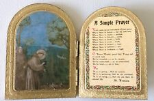 Vintage Florentine Toleware ST FRANCIS A Simple Prayer Hinged Arch TOLE Italy