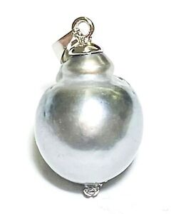 Natural Peacock Grey Blue 13 x 15.2mm Tahitian South Sea Baroque Pearl Pendant
