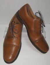 CHAPS Men 9.5M Parkton British Tan 96-33702 Leather Cap Toe Oxford Dress Shoe S1