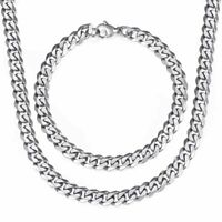 7MM Necklace Bracelet Set Curb Cuban Link Stainless Steel Chain Silver For Men