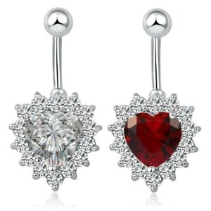 Heart Belly Button Bar Barbell Crystal Drop Dangle Body Piercing Navel Bars Ring