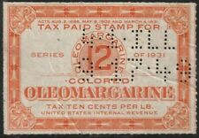 Oleomargarine 12lb, 10c Per Pound Tax Stamp Perfin 41 ILL 9.17.49