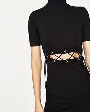 Zara Black Turtleneck Lace Up Bodycon Little Dress Size L UK 12 UK 8 Blogger ❤