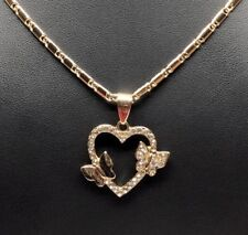 "Butterfly Heart Pendant White Stones Necklace Gold Laminated Valentina 24"" Chain"