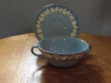 Wedgwood Embossed Queensware cream on lavender shell edge cream soup and saucer