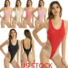 Women U-Neck Rhinestone Bodysuit High Cut Leotard Thong Bikini Swimwear Swimsuit