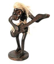 En bois statuette d'un poilu Guitar Player, Heavy Metal Rock Band Handcarved, nouveau