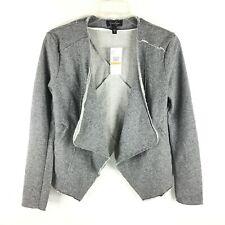 NWT Jessica Simpson Womens Open Cardigan Sweater Solid Gray Sz S Raw Hem Patch