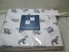 New Max Studio Kids Twin Cotton Sheet Set DINO DINOSAURS ~ Grey Gray