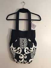 VARU - Black & White Floral Padded Tote Shoulder Handbag Purse 12x 16