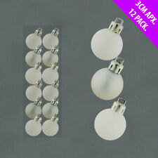 12 x White Christmas tree Baubles Decorations Cute Small Mini Size 3cm