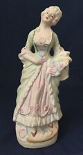 Vintage Pastel Bisque Colonial Woman Figurine with Flower Basket Occupied Japan