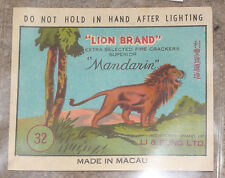 Vintage Lion Brand Mandarin firecrackers pack label-Li & Fung Ltd. Macau