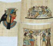 3 Egyptian Papyrus, HOURS, King Ramses II , Queen Cleopatra 12x16Cm Hand Painted