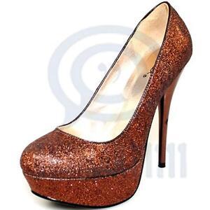 Sexy Womens High Heels Bronze Glitter Pump Platform Stiletto Formal Party Shoes