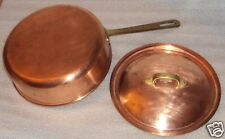 """Vtg Copper Sauce Pan or Pot with Lid Cover 9"""" diameter x 3"""""""