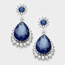 Midnight blue diamante earrings sparkly bling prom party bridal dangly 0388