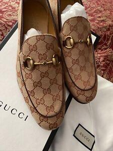Gucci Jordaan Canvas Beige Brown Horsebit Loafer Slipper Flat G 8.5 Men's 9