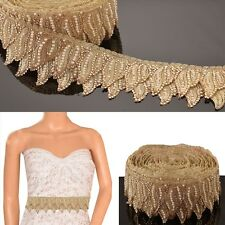 Hand Beaded Bridal Border 1 YD Trim Golden Craft Lace Pearl Beads Rhinestones