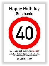 Verkehrszeichen Bild 40 Geburtstag Deko Geschenk persönliches Verkehrsschild NEU