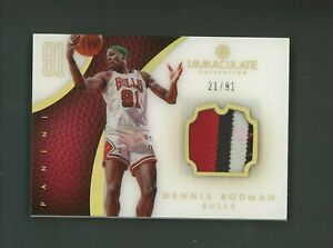 2012-13 Immaculate Acetate Dennis Rodman HOF 3-Color GU Patch 21/91 Bulls