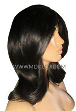 in Stock Remy Human Hair Wig Glueless Full Lace 14 Lob Black 1 1b Small Silk Top