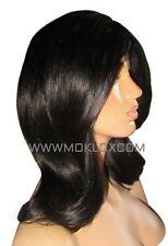 Virgin Human Hair Wig Glueless Full Lace 14 Lob Black 1 1b Small Silk Top Moklox