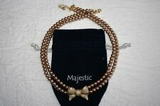 MAJESTIC Champagne Gold PEARL & Enamel BOW Necklace SIMULATED PEARL