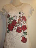 Crystal Saint M Graphic Shirt Top Tee Tattoo Rhinestone Crystal Roses Cross Flaw