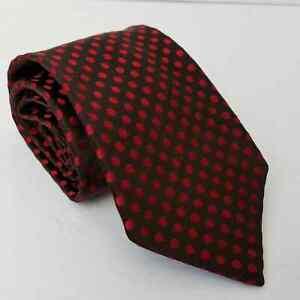 Ermenegildo Zegna Polka Dot Tie Red Brown 100% Silk Made in Italy