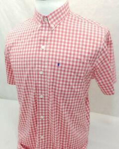 IZOD Non Iron Stretch Pink Plaid S/S Cool Cotton Blend Button Down Shirt Mens M