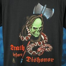 vtg 80s GRIM REAPER SNAKE DEATH BEFORE DISHONOR PAPER THIN T-Shirt L/XL skeleton
