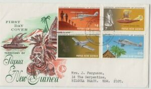 Stamps Papua New Guinea 1972 Aviation set of 4 on WCS Wesley green cachet FDC