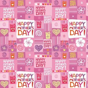 Mothers Day Wrapping Paper,Happy Mothers Day Pink Hearts Wrapping Paper