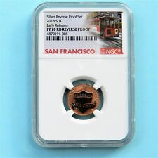 2018-S NGC PF70 Early Releases REVERSE PROOF Penny from Silver Reverse Proof Set