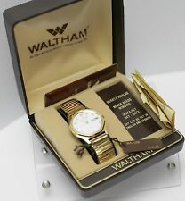 Rare NOS - Waltham Gold Tone Day Date Quartz Men's Dress Wrist Watch