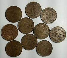 CANADA 1C LOT OF 10-KM 28-FREE USA SHIP-1928-1936-CIRCULATED SMALL CENTS