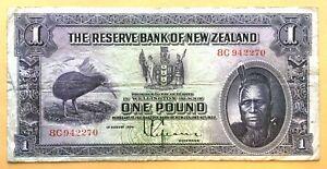 => INEW ZEALAND ~~ 1 POUND ~~ P155 ~~ 1934-40 | CHIEF MOARI | PREFIX 8C ~ VF <=