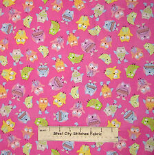 Spring Showers Pink Owl Fabric ~ Cotton By The Yard ~ Windham