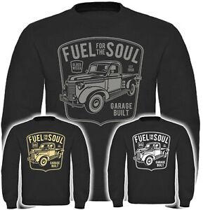 Fuel for Soul Herren Sweatshirt Oldschool Pullover Oldtimer Hotrod V8 Rockabilly