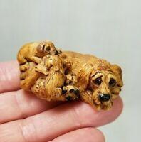 Miniature 🐶 Blood Hound Dog & Puppies Resin Figurine Artist Initials