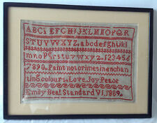 Antique Framed Alphabet Sampler Embroidery Linen Textile 1889 By Emily Beal