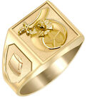 Customizable Solid Back 10k 14k Gold Masonic Shriner *Ring Free Watch included*
