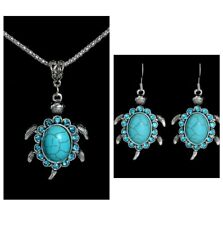 Turquoise Turtle Necklace And Earrings 2 Piece Set, Antique Silver Vintage Style